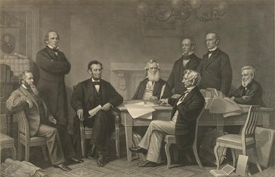 Engraving: The First Reading of the Emancipation Proclamation of President Lincoln by Francis Bicknell Carpenter (1830-1900)