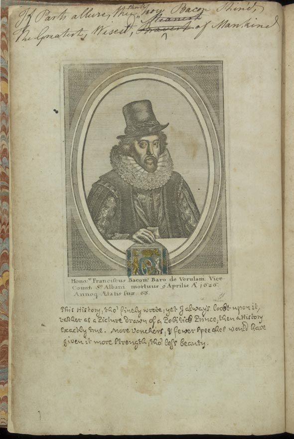 verso of third added leaf, bearing the engraving of Francis Bacon