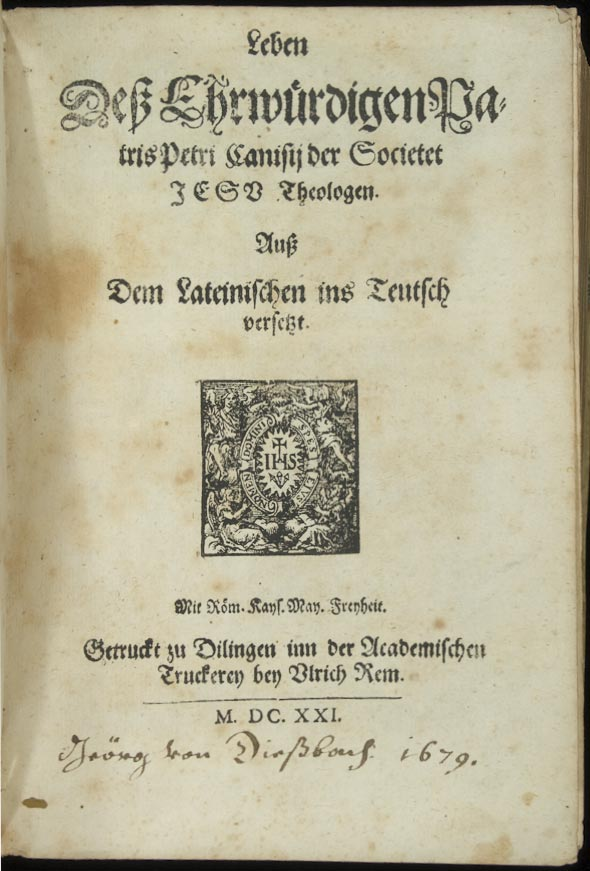 title page with emblem and ownership inscription