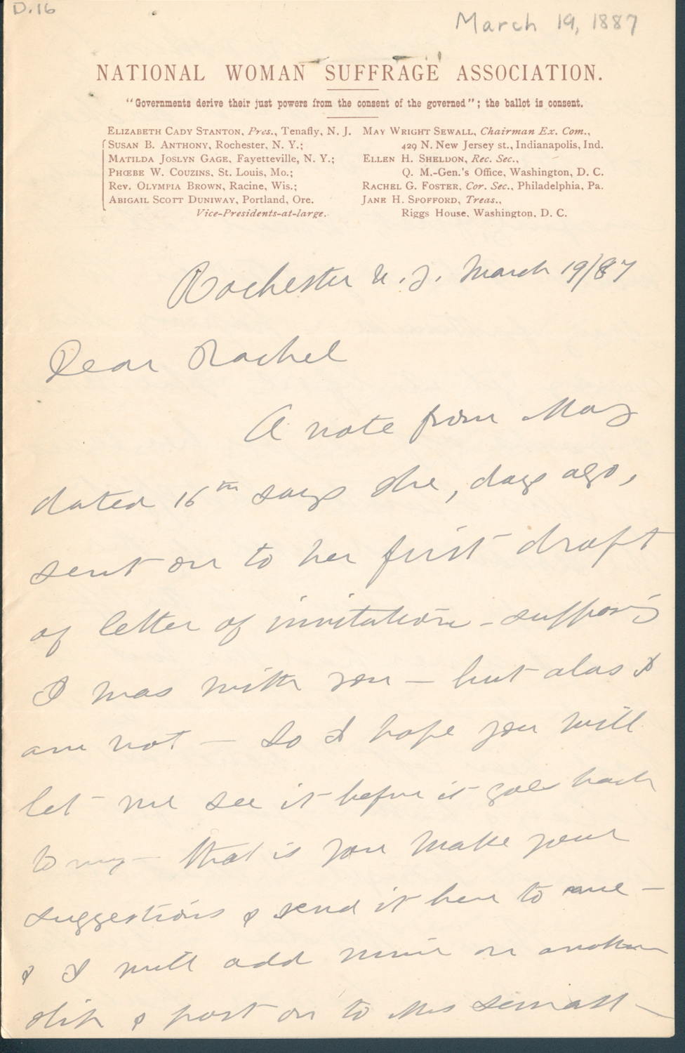 Anthony susan b avery rachel foster rbscp digitized letter page 1 aljukfo Image collections