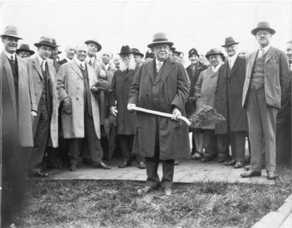 historic photo of groundbreaking on River Campus