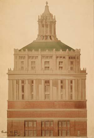 Rendering of Rush Rhees Library tower