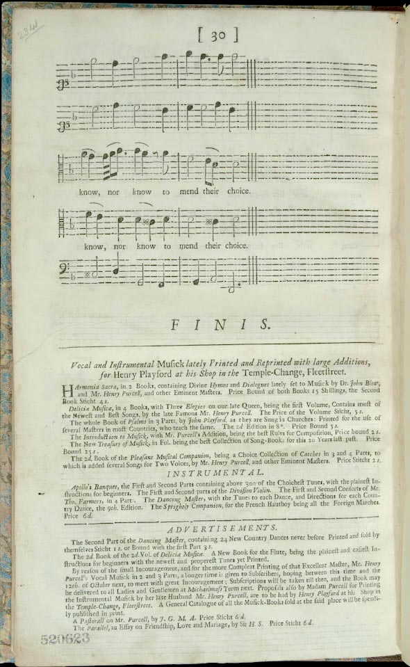 page with advertisement in verso of last page