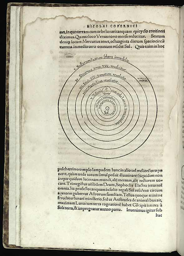 Copernicus: woodcut showing the heliocentric system