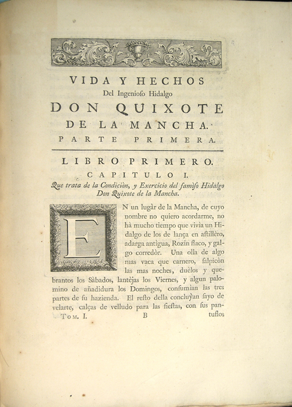 First page of text of Don Quixote