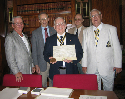 Sons of the American Revolution presenting documents to the Department of Rare Books & Special Collections