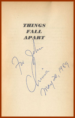 scanned title page, signed, for things fall apart